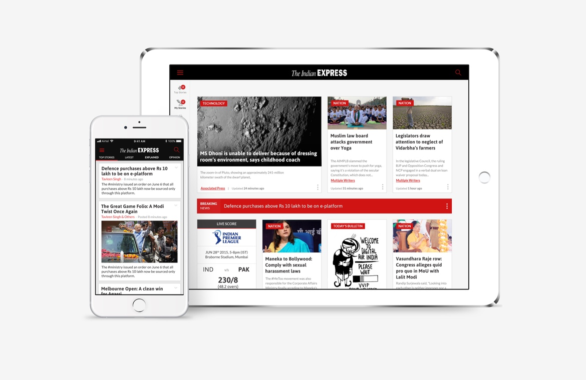 Indian Express iPhone and iPad news app design