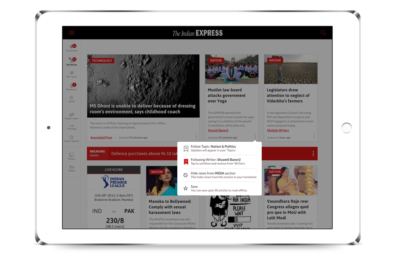 Indian Express iPad news app design follow