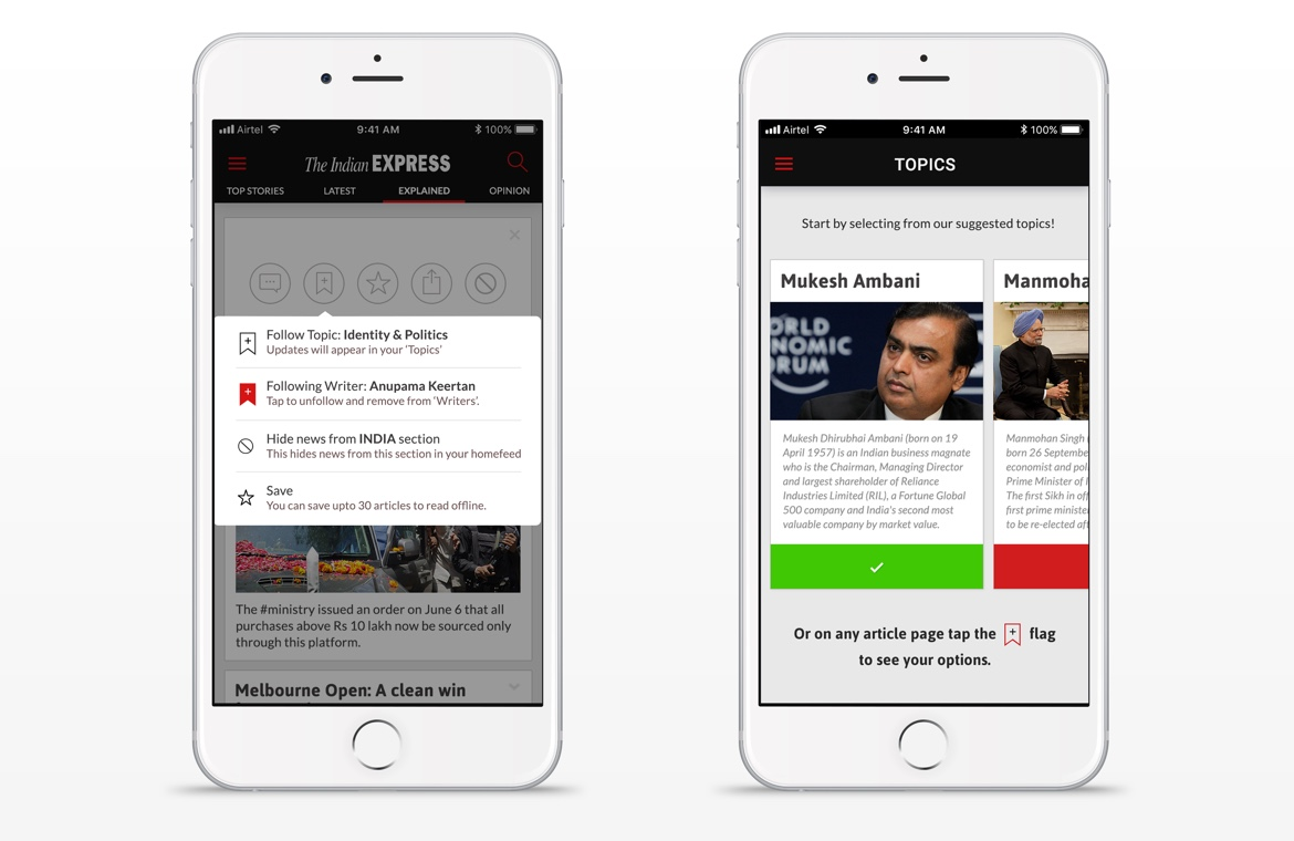 Indian Express iPhone news app design follow people feature
