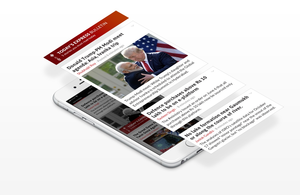 Indian Express iPhone news app design express bulletin