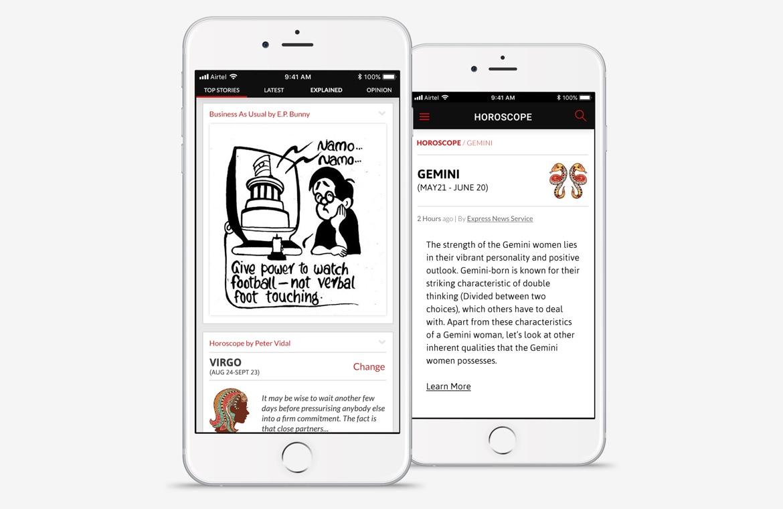Indian Express iPhone news app design horoscope and cartoon