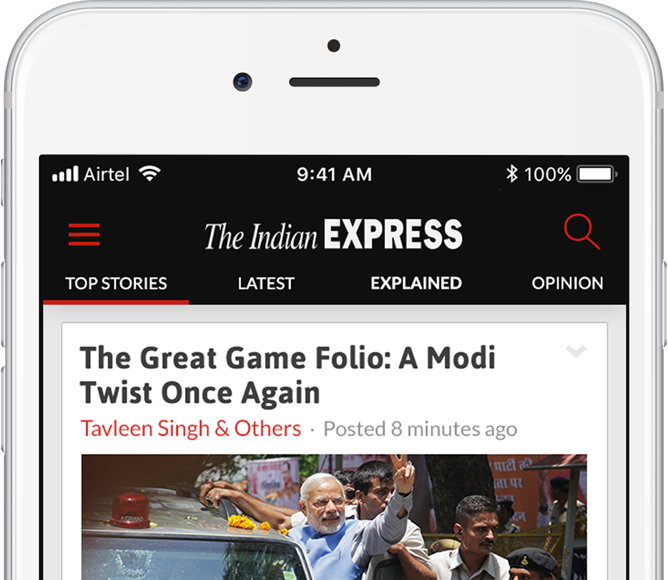 Indian Express iPhone navigation news app design